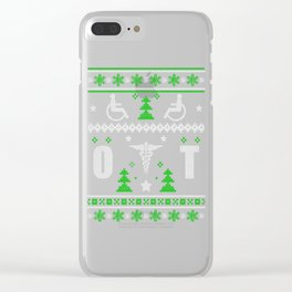 Ugly Christmas Handicapped Sign Trees Snowflakes Clear iPhone Case