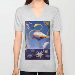 Flamingo and Egret with Lilies and Calla Lilies by Joseph Stella Unisex V-Neck