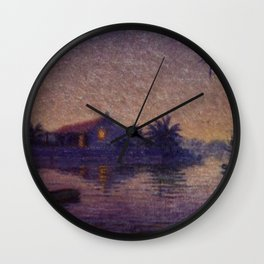 Moonlight Lagoon tropical landscape painting by Anna Woodward Wall Clock