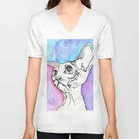psych V-neck T-shirts featuring Psych Sphinx by Szilvia Lucas