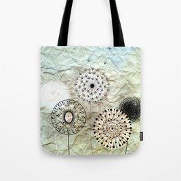 dandelions on the wrinkled paper Tote Bag