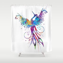 Phoenix Watercolor Print Nursery Art Gift for Her Bird Art Shower Curtain