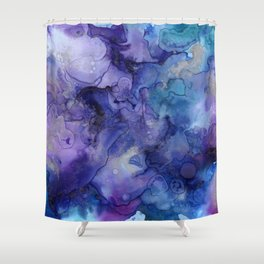 Abstract Watercolor and Ink Shower Curtain