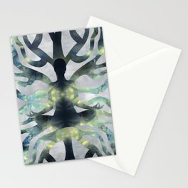 Yoga in Translucent Agate and Mother of pearl Stationery Cards
