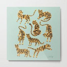 Tiger Collection – Mint & Orange Metal Print