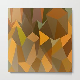 Copper Brown Abstract Low Polygon Background Metal Print