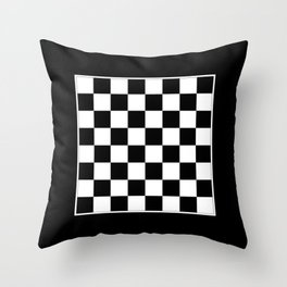 Vintage Chessboard & Checkers - Black & White Throw Pillow
