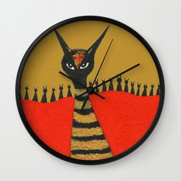 Morocco Gold Whimsical Cats Wall Clock