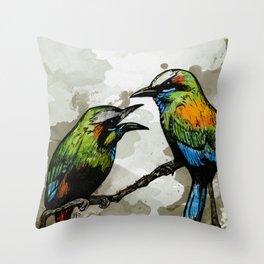 A Pair of Mot Mots Throw Pillow