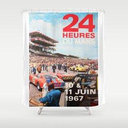 24hs Le Mans 1967, vintage poster Shower Curtain
