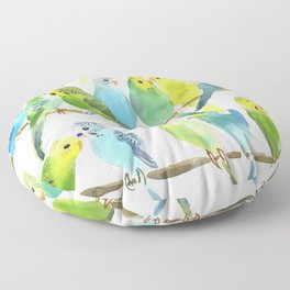 A Chatter of Budgerigars Floor Pillow