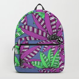 Purple and Green Striped Sketch Flowers Illustrated Pattern Backpack