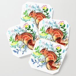 Cute Korea squirrel in sping flowers Coaster