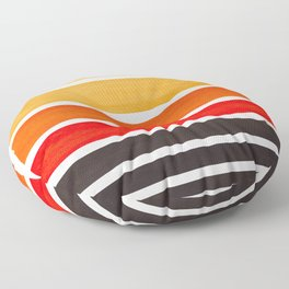 Orange Minimalist Watercolor Mid Century Staggered Stripes Rothko Color Block Geometric Art Floor Pillow