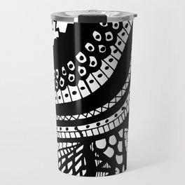 Free Hand Wavy Pattern Black and White Drawing Travel Mug