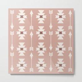 Southwestern Arrow Pattern 246 Beige Brown and Tan Metal Print