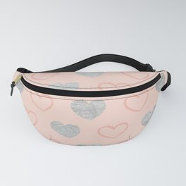 Elegant hand painted romantic coral pink silver foil hearts Fanny Pack
