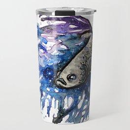 Galaxy Betta Fish Watercolor Travel Mug