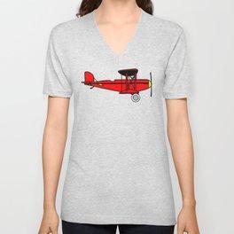 Red Biplane Unisex V-Neck