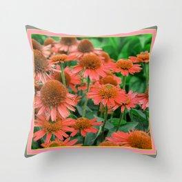 Coral Echinacea Garden Flowers Throw Pillow