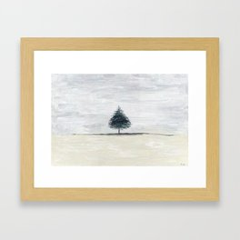 Lone tree in desert Framed Art Print