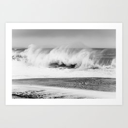 windy wave on beach Art Print