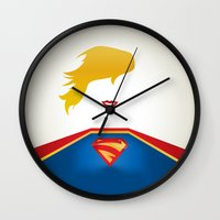 supergirl Wall Clocks featuring SUPERGIRL by Roboz