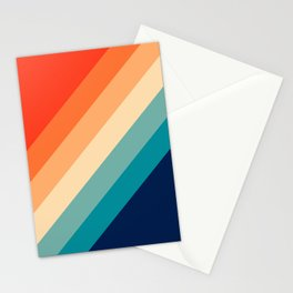 Classic Colorful Retro 70s Vintage Style Stripes - Farida Stationery Cards