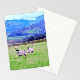 Nosy Sheep at Borrowdale, Lake District, UK Watercolor Painting Stationery Cards