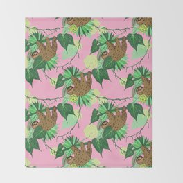 Sloth - Green on Pink Throw Blanket