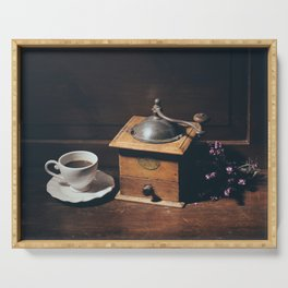 Vintage still life with coffee grinder Serving Tray
