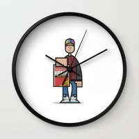 marty mcfly Wall Clocks featuring Marty by Sr.Pandita