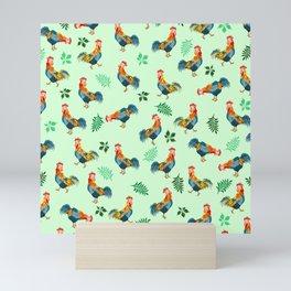 Rooster Pattern Mini Art Print
