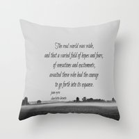 jane eyre Throw Pillows featuring Jane Eyre World by KimberosePhotography