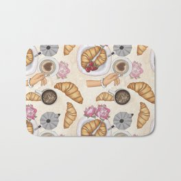 Good Morning Strawberries, Croissants And Coffee Pattern Bath Mat