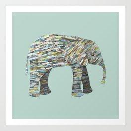 Elephant Paper Collage in Gray, Aqua and Seafoam Art Print