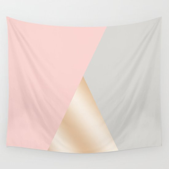 Modern blush pink, grey & rose gold geometric triangles by naughtycat
