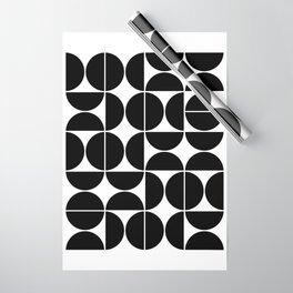 Mid Century Modern Geometric 04 Black Wrapping Paper