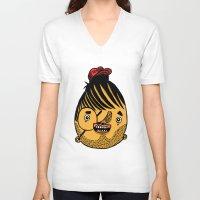 ferrari V-neck T-shirts featuring Freddie Ferrari by crapAdoodle