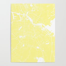 Amsterdam Yellow on White Street Map Poster