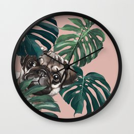 Pug with Monstera Leaf Wall Clock