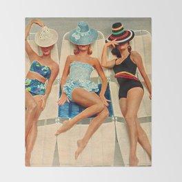 Retro Sunbathers Throw Blanket