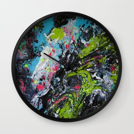 Colorful Abstract Fluid Acrylic Painting Wall Clock