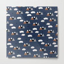 Fuji mountain top winter canada climbing theme navy gray rust Metal Print