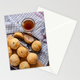 Chinese pastry with a cup of tea Stationery Cards