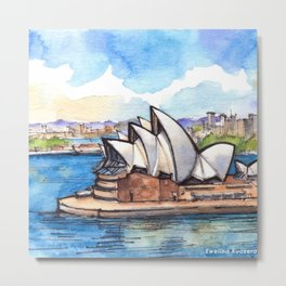 Sydney Australia ink & watercolor illustration Metal Print