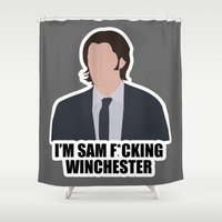 sam winchester Shower Curtains featuring Sam F*cking Winchester by SuperSamWallace