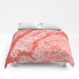 Living Coral Blush Pink Mantel Decor showing Manhattan New York City. Minimalist Layered Artwork Comforters