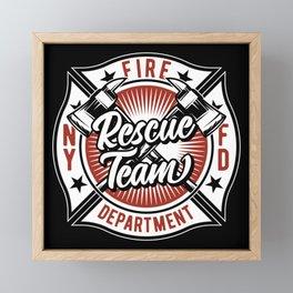 Fire Fighter - Rescue Team - dark Framed Mini Art Print
