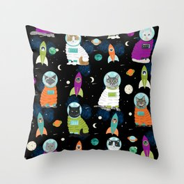 Space Cats pet portraits cute cat gifts cat lady outer space cadet rockets Throw Pillow